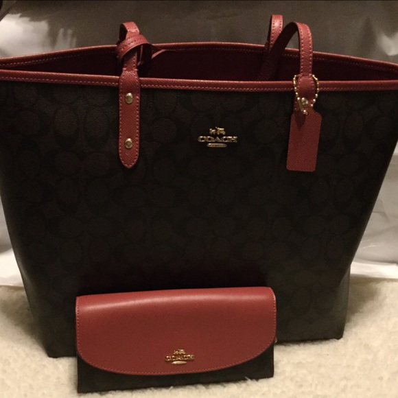 Coach Handbags - Coach Reversible Tote & Matching Wallet NWT